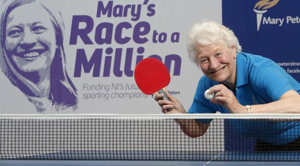 Dame Mary Peters promoting the ping pong world record challenge