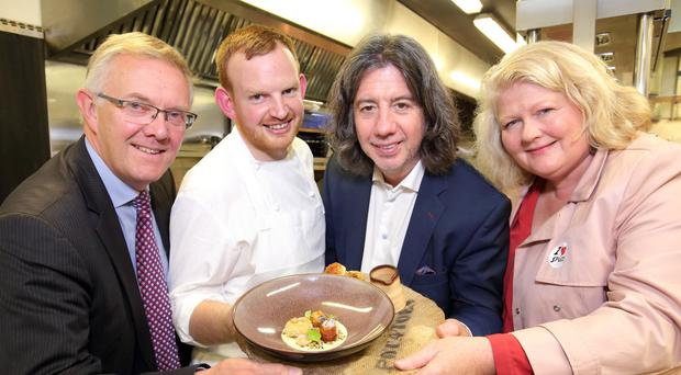 Ivor Ferguson, deputy president, Ulster Farmers' Union, chef Mark Abbott, restaurateur and chef Michael Deane and CEO of Food NI Michele Shirlow
