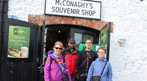 Tourists visiting his shop at the Giant's Causeway. Photo: Mark Jamieson
