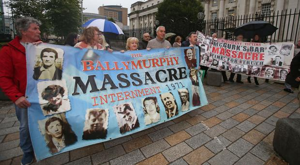 Campaigners outside the Royal Courts of Justice in Belfast