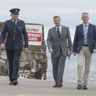 Coroner Dr Denis McCauley (second from right) with Irish Water Safety CEO John Leech and Garda Siochana members Inspector David Murphy and Sgt Mark Traynor at Buncrana pier
