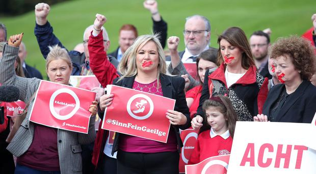 Sinn Fein's Michelle O'Neill joins Irish speakers at Stormont to campaign for an Irish Language Act