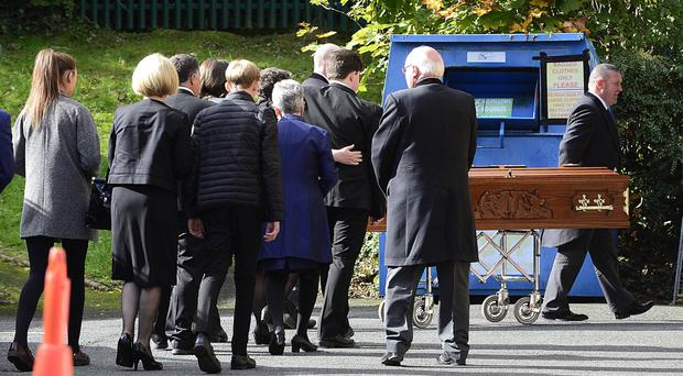 The funeral of Seamus Kelters took place on Saturday at St Michael's Church in south Belfast