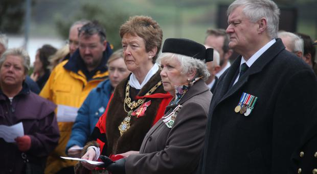 The service at Ballycastle War Memorial to mark the sinking of HMS Drake at Church Bay exactly 100 years ago