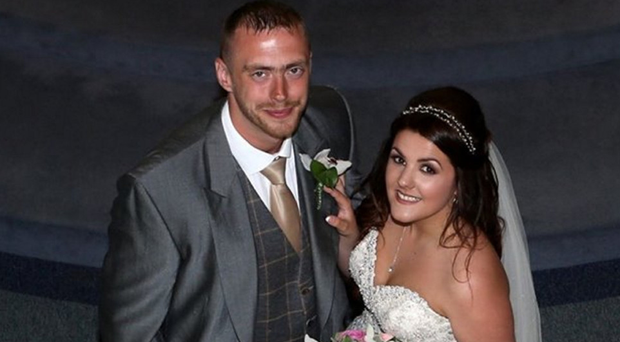 Sinead Stewart with her husband Ali on their wedding day in 2015
