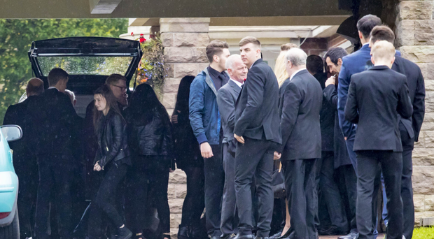 The funeral of Steven Sunstrum at Roselawn yesterday