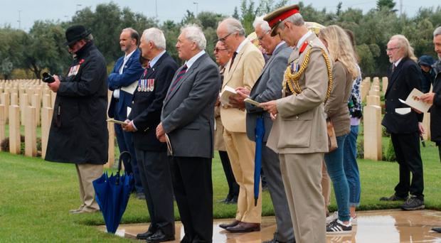 The rededication ceremony of the grave of Second World War soldier Edward Graham at Catania War Cemetery in Sicily. He was killed in 1943 in a German ambush