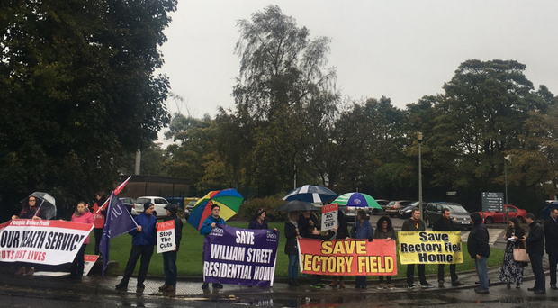 Protesters outside Rectory Field Residential Home