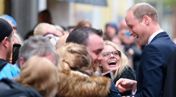 The Duke of Cambridge meeting the public at Lombard Street during his visit to charity Inspire