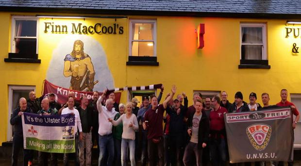 Some of the German football fans in Bushmills before their team's World Cup qualifier at Windsor Park, Belfast