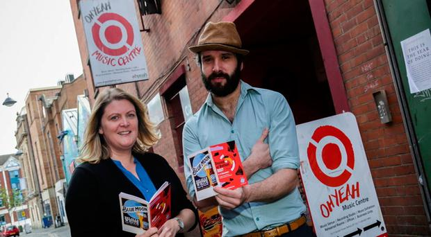 Charlotte Dryden from the Oh Yeah Music Centre and Chris McConaghy of Our Krypton Son launch the Sound of Belfast 2017 programme of events