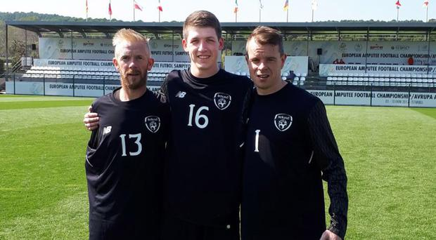 Justin Guiney, from Northern Ireland (centre), with Patrick Hutton and James Conroy
