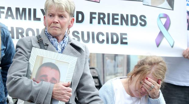 Stephen Ferrin's mother Patricia (right) at the mental health march held in Belfast