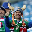 Northern Ireland fans celebrate at the Thon Ullevaal Stadion in Oslo