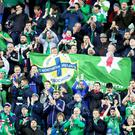 Northern Ireland fans at the Thon Ullevaal Stadion in Oslo