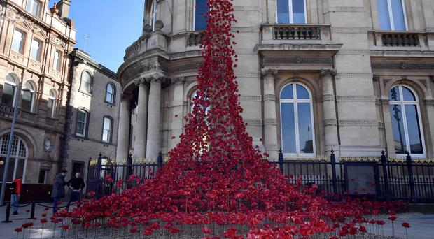 The Weeping Window outside the Maritime Museum in Hull