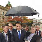 Taoiseach Leo Varadkar and (fifth from left) Donegal Mayor Gerry McMonagle in Derry