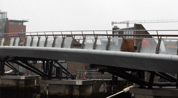 The Lagan Weir footbridge which was closed due to vandalism
