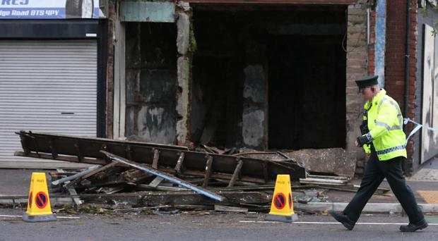 The scene on the Albertbridge Road in east Belfast after the front of a building collapsed