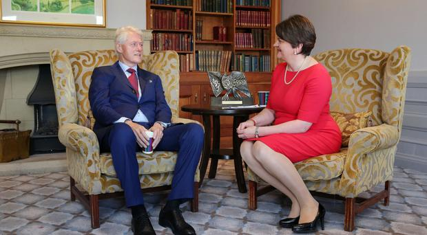 Former US President Bill Clinton at the Culloden Hotel after meeting with DUP leader Arlene Foster