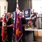 Flute band colour party at Carrickfergus Town Hall