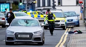Emergency services at the scene of the accident on the Ballyclare Road in Glengormley