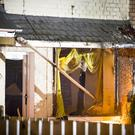 The damage caused to a house in the Farringdon Gardens area of Ardoyne in north Belfast following a suspected gas explosion