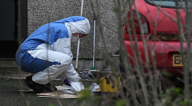 Police at the scene of a suspicious death on the Townhill Road near Rasharkin yesterday