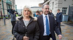 Sarah Ewart with Patrick Corrigan of Amnesty International outside Belfast Crown Court at a previous hearing