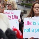 Anti-abortion campaigners outside the Royal Courts of Justice, Belfast