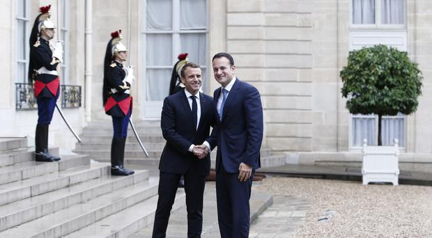 Emmanuel Macron welcomes Leo Varadkar to the Elysee Palace