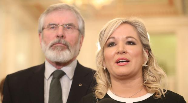 Mr Adams and Sinn Fein's Stormont leader Michelle O'Neill