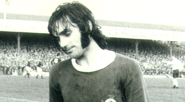 George Best wearing the shirt in a 1970 match against Scotland