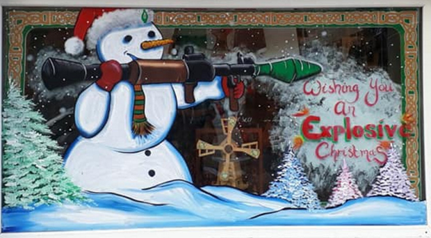 The snowman window display