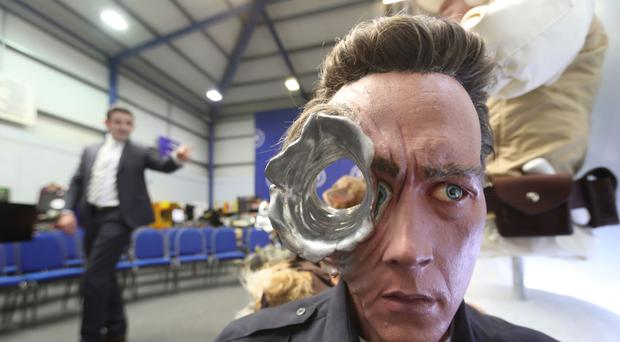 A Terminator 2 movie replica bust among items seized from a drug lord.