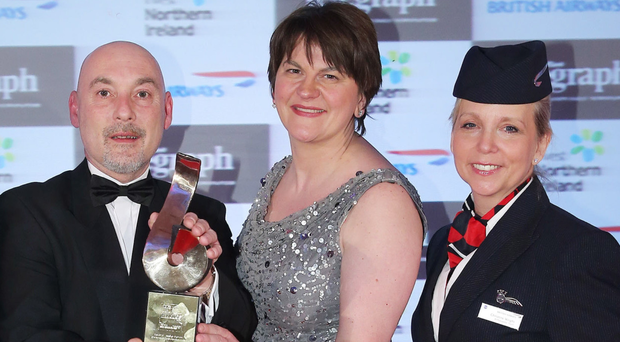 Crawford McClean of Bio-Kinetic with Arlene Foster and British Airways' Christine Wright at awards ceremony