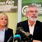 Sinn Fein president Gerry Adams with the party's northern leader Michelle O'Neill