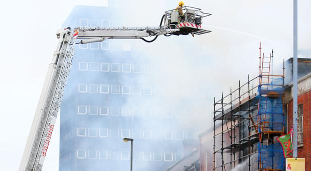 Fire engine at Belfast high-rise fire