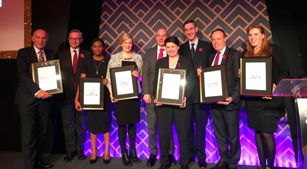 Nigel Dodds MP with other winners (from left) Stella Creasy, Lord Adonis, Ruth Davidson, Jacob Rees-Mogg and Angela Rayner at the awards last night