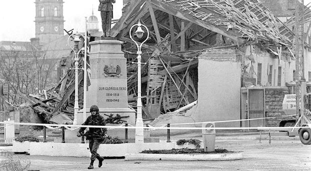 A total of 11 people were murdered and 63 injured when the IRA detonated a no-warning bomb during the town's Remembrance Day service at its cenotaph on November 8, 1987