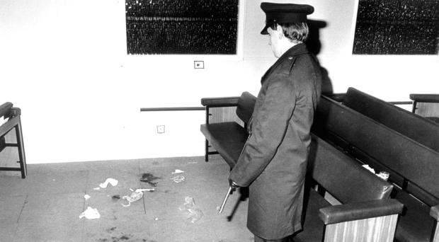 A police officer at the scene of the shooting in Darkley in 1983