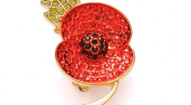 A crystal-studded poppy brooch from poppyshop.org