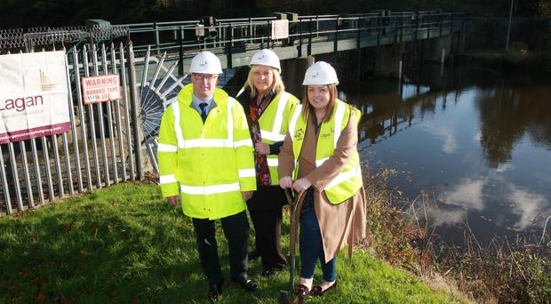Owen McGivern, Valerie Ingram of Ulster Garden Villages and councillor Deirdre Hargey launch the new scheme