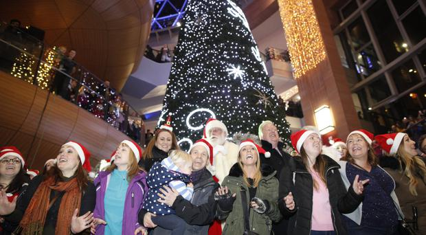 The switching-on of the Christmas tree lights in Victoria Square, Belfast