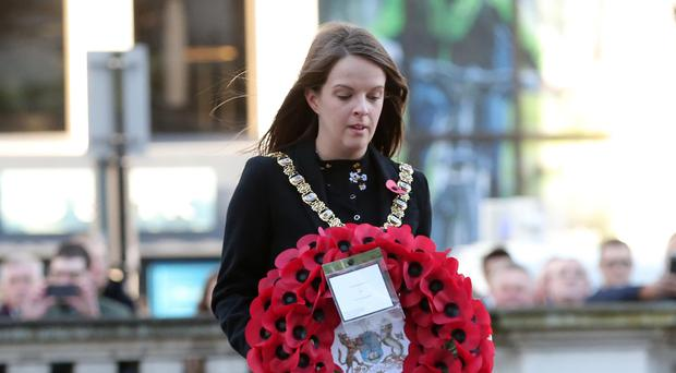 Belfast Lord Mayor Nuala McAllister lays a wreath to remember the fallen heroes of the two World Wars