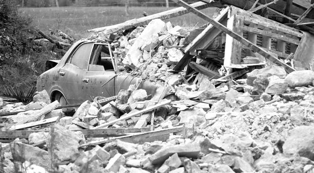 The scene of the bomb in Garryhinch, Co Laois, in 1976