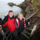 Frank Devlin, National Trust countryside manager and Ciara McClements, site manager for the bridge
