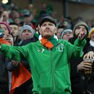 Republic of Ireland fans during the first leg in Denmark