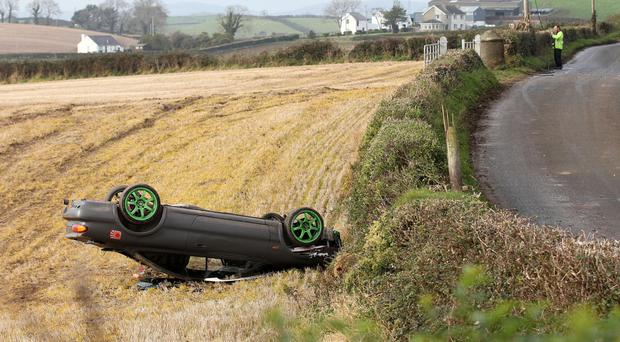 The scene of a crash just outside Killynether Wood in Scrabo