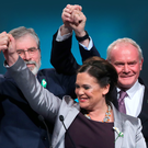 President Gerry Adams, vice president Mary Lou McDonald and Martin McGuinness at the Sinn Fein ard fheis in April last year